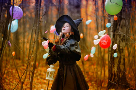 Small girl in a witch halloween costume Stock Photo - 10835757