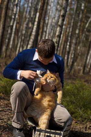 Man and cat  photo