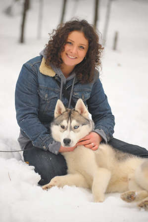 girl with her Siberian Husky