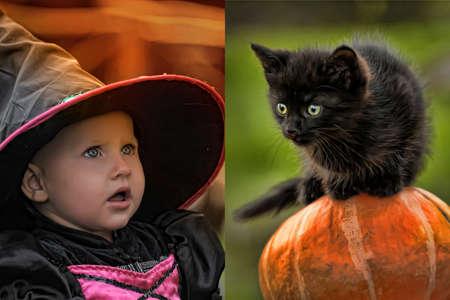 peque�a bruja con un gatito negro Foto de archivo - 11115978