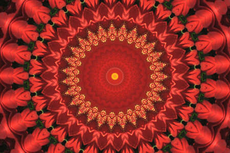 Bright red ornament a kaleidoscope  photo