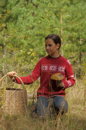 The girl the teenager with a basket and mushrooms photo