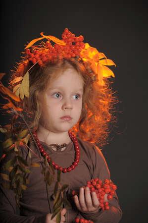 brown haired: Autumn redheaded princess Stock Photo