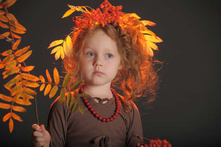 brown haired girl: Autumn redheaded princess Stock Photo
