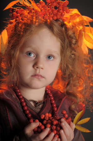 red haired person: Autumn redheaded princess Stock Photo