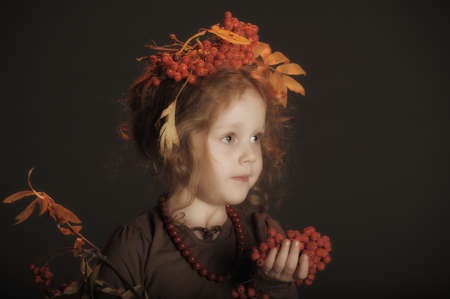 Autumn portrait of the little red-haired girl Stock Photo - 13213781