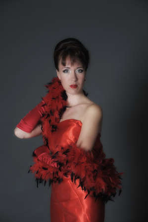 windblown: The woman in red gloves  Stock Photo