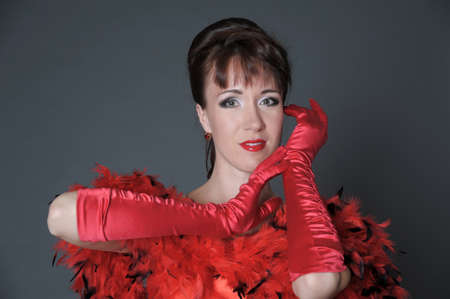 The woman in red gloves