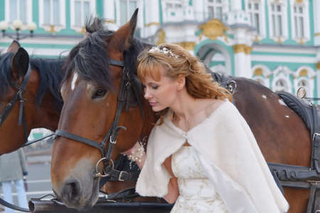 bride with horse Stock Photo - 11869453