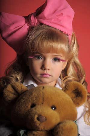 Children fashion doll blond girl photo