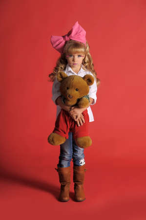 Children fashion doll blond girl photo