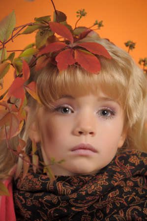 autumn portrait of a little blonde girl photo