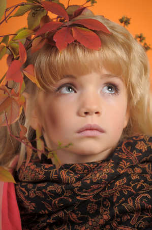 Portrait of the small autumn princess Stock Photo - 11036515