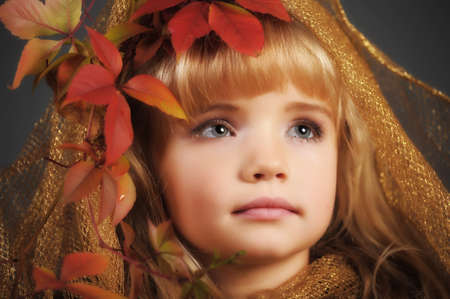 Portrait of the small autumn princess  Stock Photo - 11036455