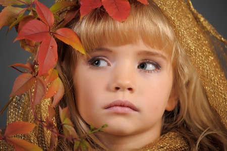 Portrait of the small autumn princess  Stock Photo - 11036482
