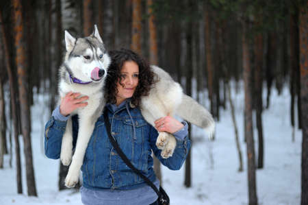 blue eye husky: girl with her Siberian Husky