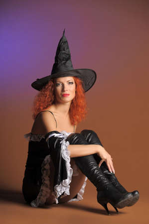 caucasoid race: redheaded witch Stock Photo