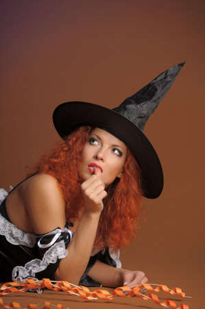 belonging to the caucasoid race: Sexy redheaded witch