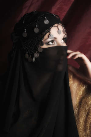 Beautiful asian girl with black veil on face  Stock Photo - 11201886