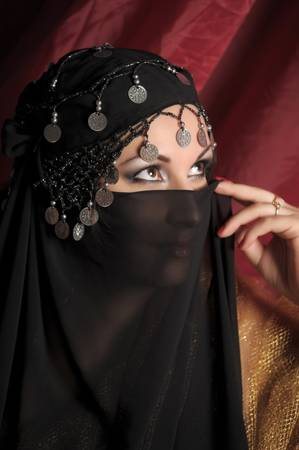 Beautiful asian girl with black veil on face Stock Photo - 11201848