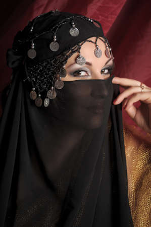 Beautiful asian girl with black veil on face Stock Photo - 11201869