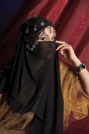 Beautiful asian girl with black veil on face  Stock Photo - 11201858
