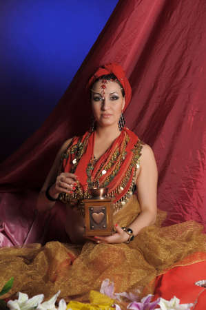 Woman in oriental clothes photo