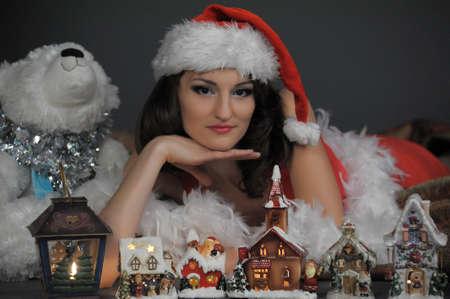 house of santa clause: Girl on Christmas Stock Photo