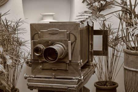 folding camera: Wooden retro camera