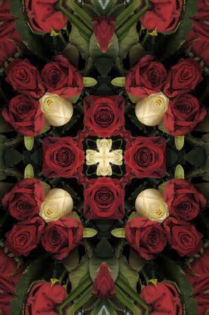картина из красных и белых роз