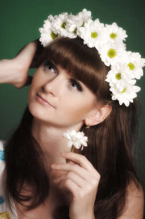 russian hat: young woman with daisies