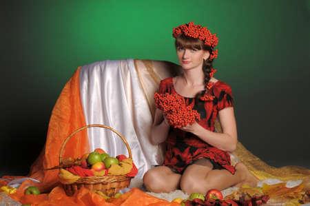 Autumn portrait in studio photo