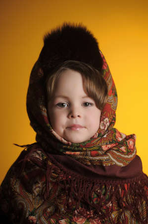 little girl in the Russian national scarf photo
