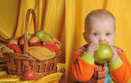 small child with a basket of apples Stock Photo - 11421925