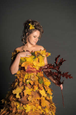 woman with a dress made of autumn leaves Stock Photo - 11422482