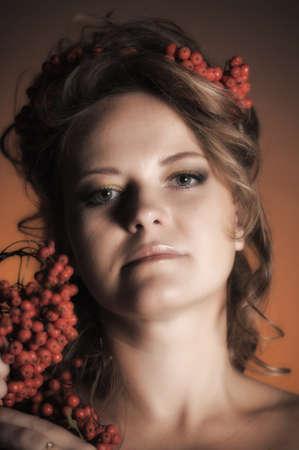Autumn portrait in retro style photo