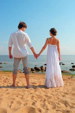 Natural couple at the beach  photo