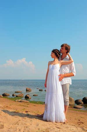 honeymooner: Beautiful couple at the beach