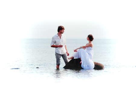 romantic pair on the seashore Stock Photo - 13326190