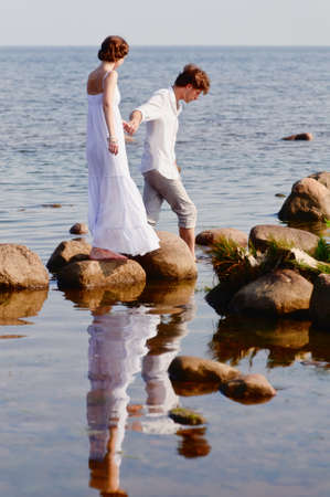 romantic couple at sea Stock Photo - 11621528