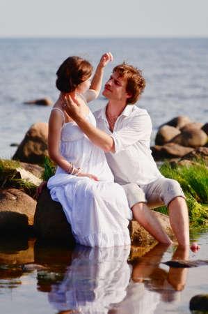 romantic couple at sea Stock Photo - 11621526