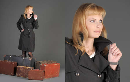 young woman and a lot of old suitcases Stock Photo - 11420772