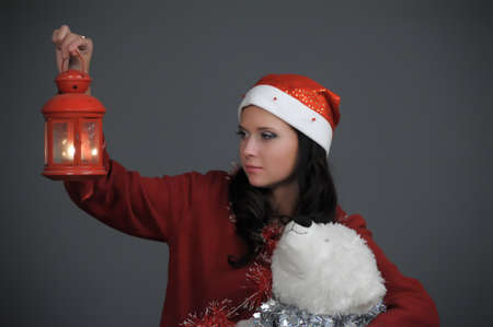 Woman with lantern  photo