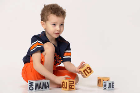 boy playing with blocks Stock Photo - 17897454