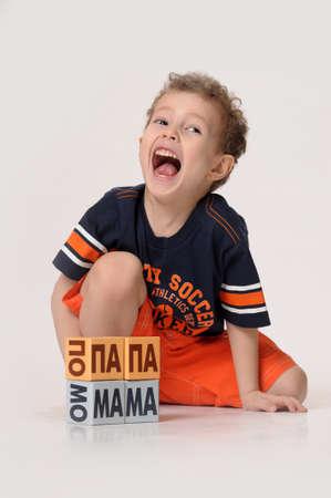 boy playing with blocks Stock Photo - 17893728