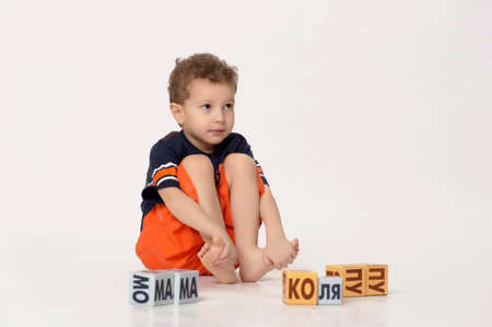 boy playing with blocks Stock Photo - 17897424