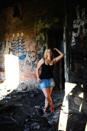 Girl near the ruins photo