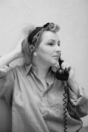 Vintage woman on telephone Stock Photo - 11935460