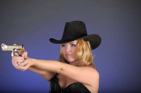 brown leather hat: American cowgirl in a western movie style  Stock Photo