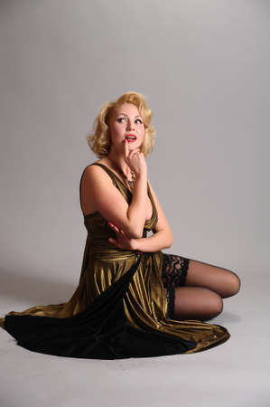 blond in retro style  Stock Photo